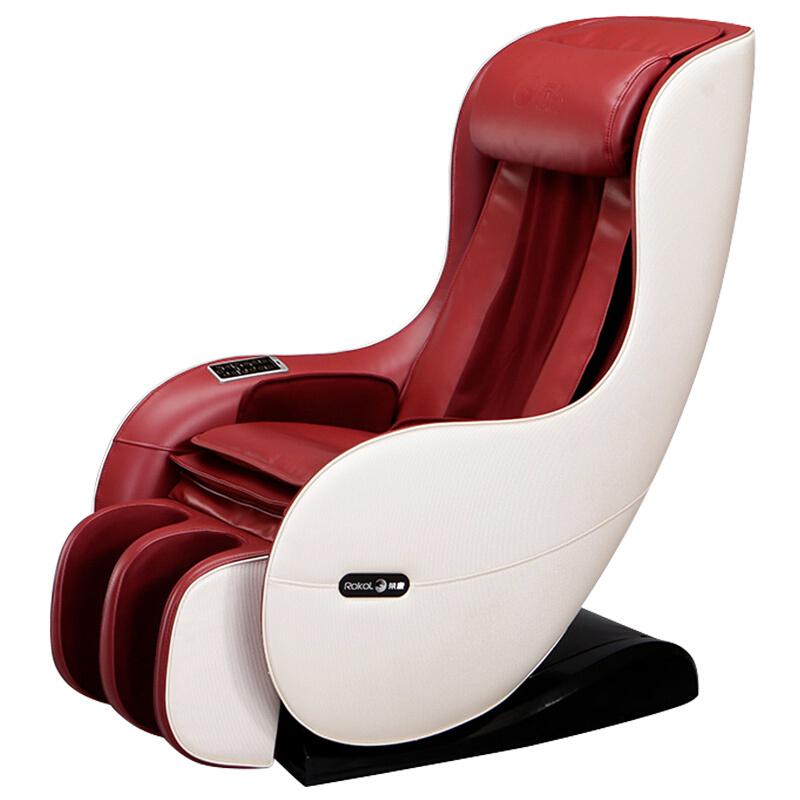 荣康按摩椅家用多功能智能小型按摩椅RK-1900A全自动按摩仪电动按摩沙发椅子 酒红色